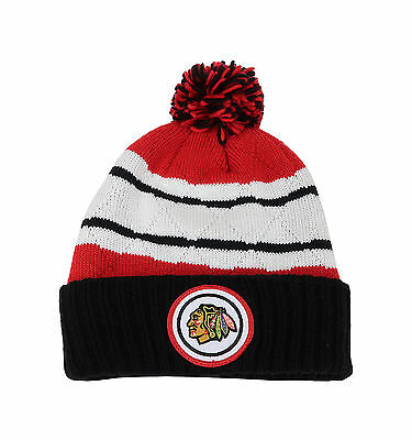 Mitchell & Ness NHL Beanie Chicago Blackhawks Black/Red Quilted Pom Knit Hat
