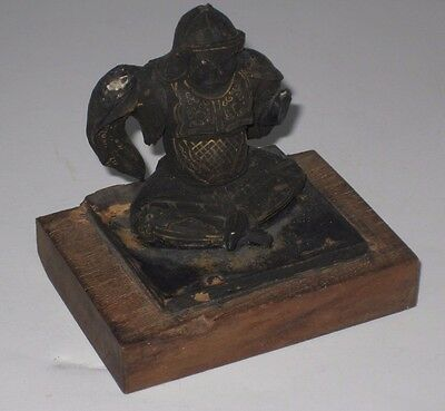 Antique 19th Century Wood Carving Of Hermit Luohan Sitting Lotus Style