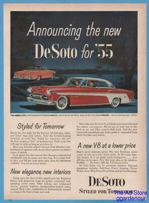 1955 DeSoto Fireflite & Firedome Coupe for '55 Vintage Chrysler 1954 Car Art Ad