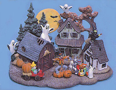 Ceramic Bisque Ready to Paint Halloween Village  3 light village kit included