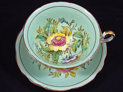 Foley Helichrysum Pattern Hp Floral Blue Green Tea Cup And Saucer