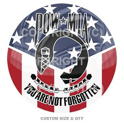 Premium Glossy Round 3D Epoxy Domed Decal Indoor & Outdoor POW MIA C USA S132