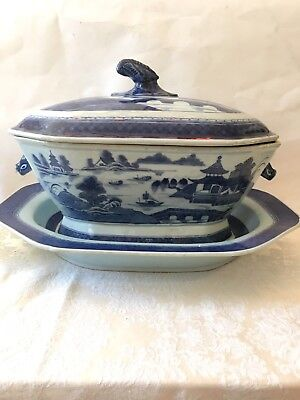 Antique Canton Porcelain Tureen With Underplate