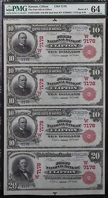 1902 Red Seal $10/$20 Uncut Sheet National Bank Clifton Kansas PMG Choice Unc 64