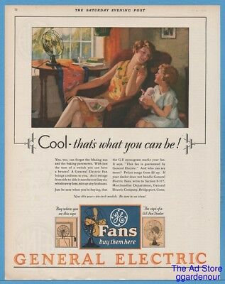 1929 General Electric Bridgeport CT GE Antique Home Fan You can be Cool Ad