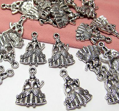 Bulk Lot 50 Silver Charms-Medieval Maiden-Princess-Queen-Drops-Jewelry Findings