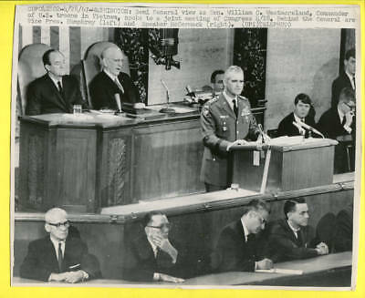 1967 General Westmoreland Speaking to Congress Senator Humphrey Press Telephoto