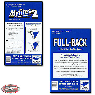 50 - E. GERBER FULL-BACK & MYLITES 2 CURRENT Mylar Bags & Boards! 675FB/700M2