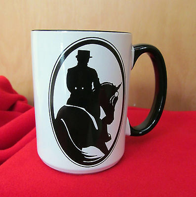 New Dressage Horse Half Pass Large Coffee Mug - Black and White