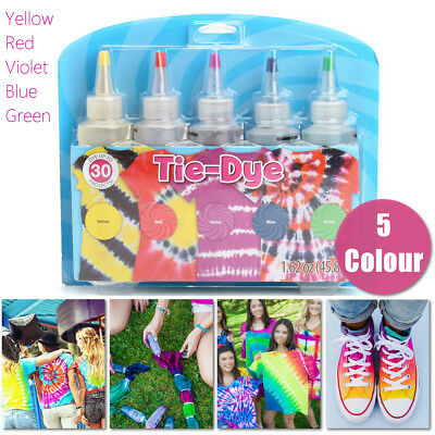 5 X Tulip Tie Dye Kit Fabric  Vibrant Textile Permanent Paint Colours