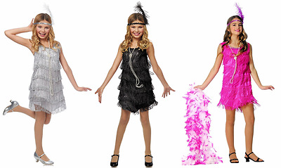 1920S Roaring 20's Child Girls Dazzling Flapper Gatsby Charleston Costume Dress