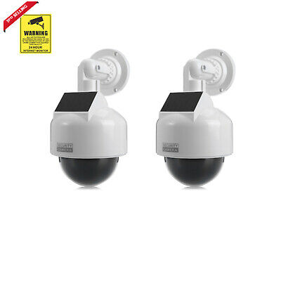 2X Solar Powered Dummy Surveillance Security Camera CCTV with LED Record Light