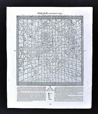 c. 1880 Star Map Chart Equatorial 135 to 225 West Cosmos Zodiac Astrology Signs