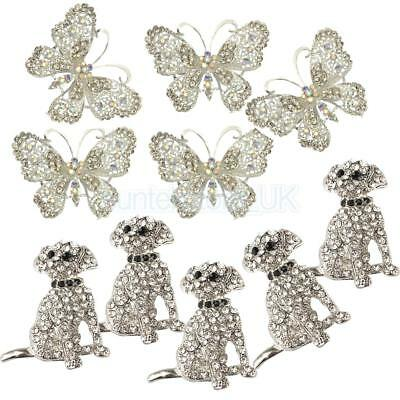 10pcs Vintage Animal Dog Butterfly Broaches Crystal Charms Wedding Jewellery