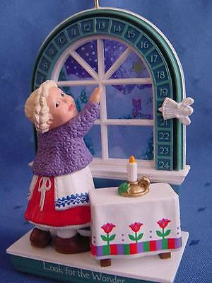 HALLMARK WONDER of CHRISTMAS ORNAMENT Kids slide Angel around WINDOW Countdown w