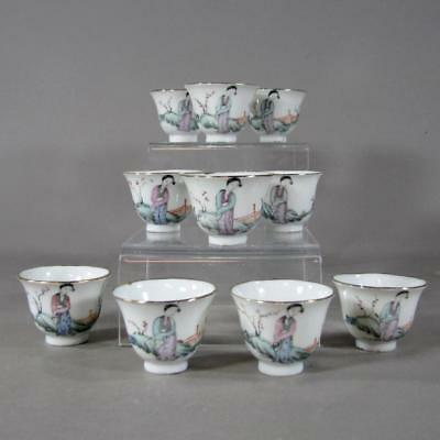 Set of 10 Chinese Republic Famille Rose Porcelain Wine Cups w/ Ladies in Garden