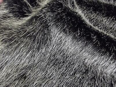 Super Luxury Faux Fur Fabric Material - SWISS BLACK SILVER