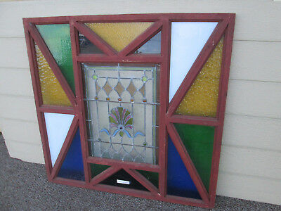 54704 Large Leaded Glass Stained Glass Window Inset in Folk Art Frame