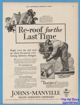 1927 Johns Manville Fire Proof Shingles Reroof Asbestos Try an' Burn It Ad