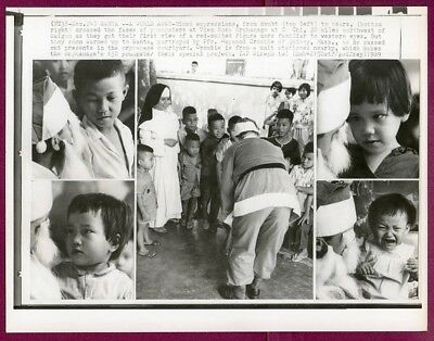 1969 Vietnam Christmas at Vien Ross Orphanage at Cu Chi Original Press Wirephoto