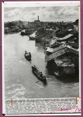 1966 Vietnam Canal in Cholon Saigon Original Press Wirephoto