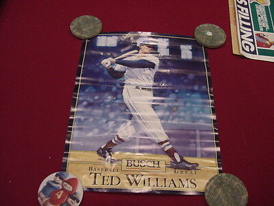 SCARCE 1989 Ted Williams Busch Beer 15x17 Inch Poster, Boston Red Sox, LOOK!