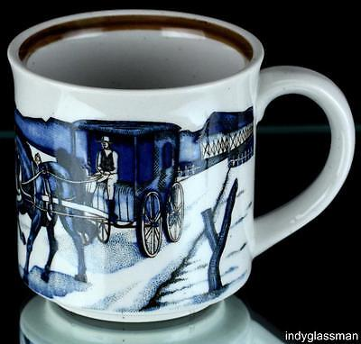 "Otagiri AMISH HORSE & CARRIAGE 3 5/8"" Coffee Mug COVERED BRIDGE"