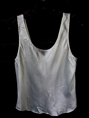 """Vtg Satin Camisole Tank Top Off-White 34"""" Bust Small Lucie Ann II Lingerie 1980s"""