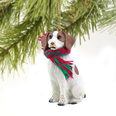 Brittany Brown and White Dog Tiny One Miniature Christmas Holiday ORNAMENT