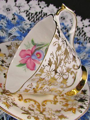 Queen Anne Gold Floral Chintz Pink Blue Orchid Tea Cup And Saucer
