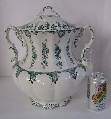 """Vintage Floral Chamber Pot """"John Maddock Royal Vitreous"""" Double Handle w/Cover"""