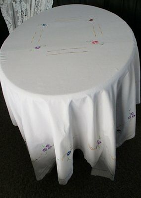 "LARGE TABLECLOTH EMBROIDERED with SMALL FLOWERS - 62""x 86"""