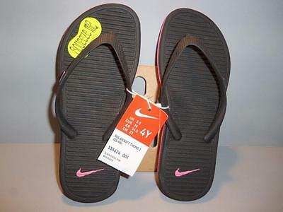 2a328d1621af NEW NIKE GIRLS SOLARSOFT THONG 2 --BLACK with pink FLIP-FLOPS YOUTH ...