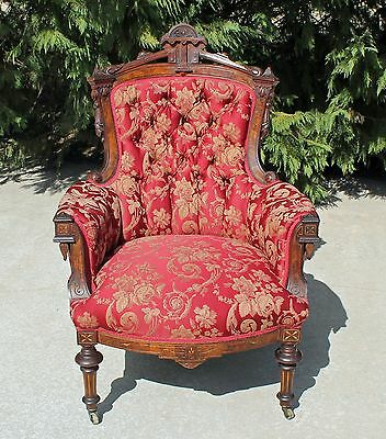 Walnut Victorian Renaissance Revival Parlor Armchair Carved Draped Tassels