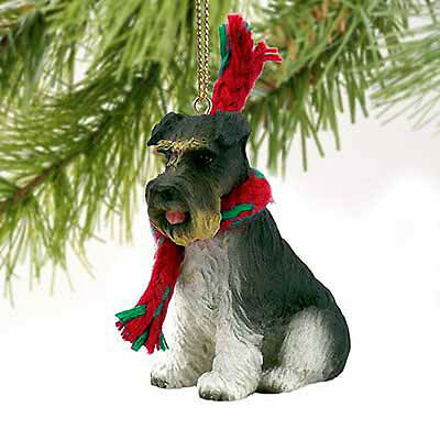 Schnauzer Uncropped Gray Dog Tiny One Miniature Christmas Holiday ORNAMENT