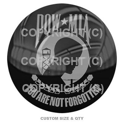 Premium Glossy Round 3D Epoxy Domed Decal - Grey POW Mia On Black S166