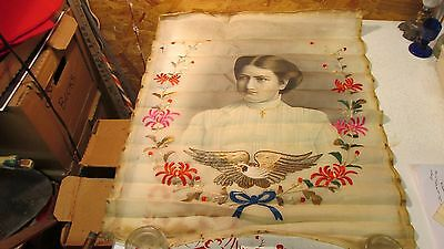 Antique Lady Portrait on Silk Type Fabric Embroidered
