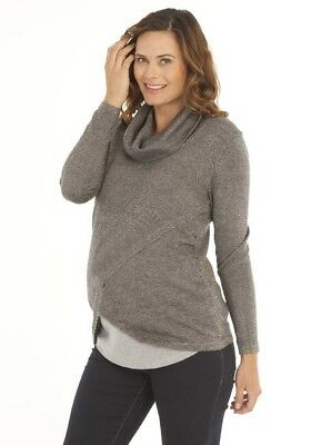 Petal Front Layered Knitted Nursing Top - Grey