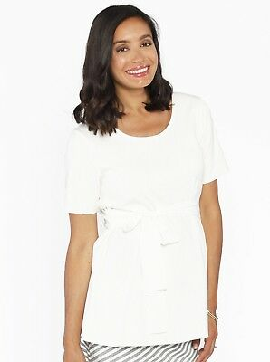 Maternity Short Sleeve Work Top with Tie Waist - Off White