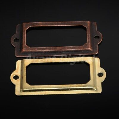 12Pcs Vintage Iron Cabinet Label Tag Pull Frame Handle File Name Card Holders
