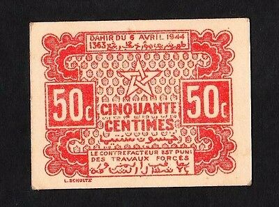 50 Centimes From Morocco 1944 Aunc