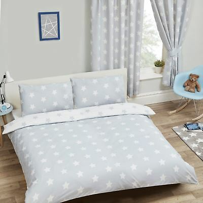 Grey & White Stars Double Duvet Cover Set Bedding Girls Boys New