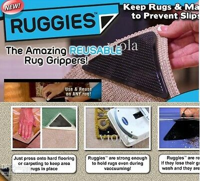 4PC Set Home Ruggies Rug Grippers Carpet Reusable Triangle Pads Mats Removable
