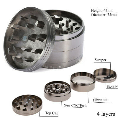 4 Piece Zinc Alloy Grinder Tobacco Herb Herbal Spice Smoke Hand Chromium Crusher