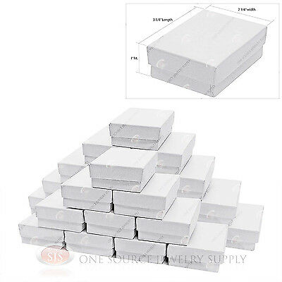 """25 White Swirl Cardboard Cotton Filled Jewelry Gift Boxes 3 1/4"""" X 2 1/4"""" X 1"""""""