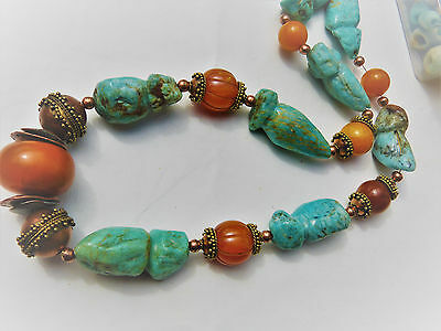 African Amber, Resin Beads, and Amazonite Necklace, Huge and Chunky !