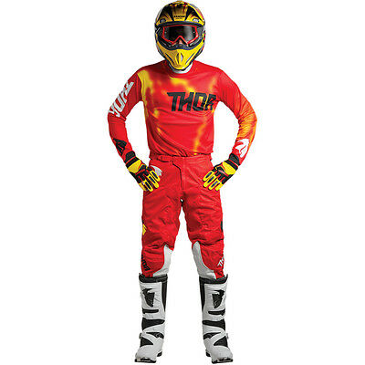 2018 Thor Pulse Air Vented Jersey Pant Kit Motocross 32 34 36 38 Radiate Red