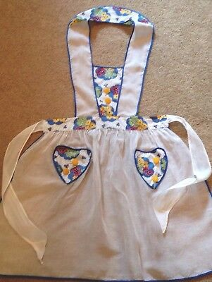 Vintage Full Sheer Pinafore Apron Buttons Red Yellow Blue Floral Heart Pocket