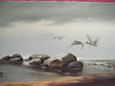 Old Artist Painting___Ascending Wild Ducks at Beach ___PETERSON__