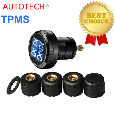TPMS Wireless Tyre Tire Pressure + Temp Monitor System Kit 4 External Sensors